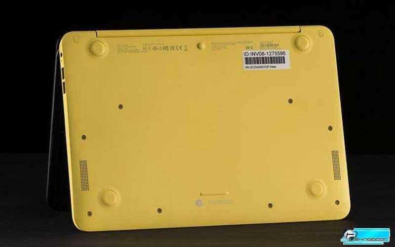 Slatebook сочетает в себе черный дисплей с крышкой и желтой нижней частью