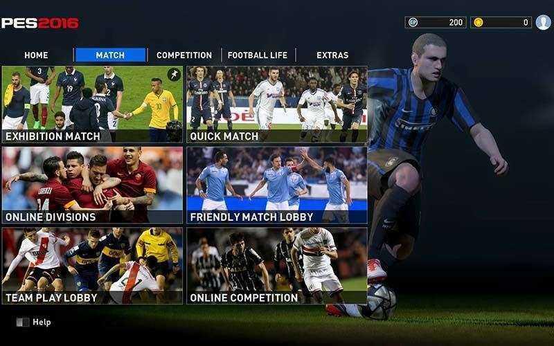 Итерфейс Pro Evolution Soccer 2016