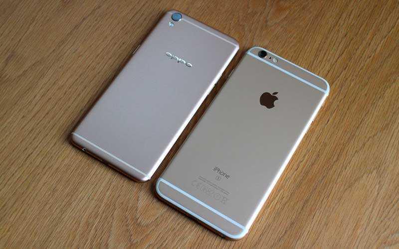 Oppo F1 Plus и iPhone 6 Plus сзади