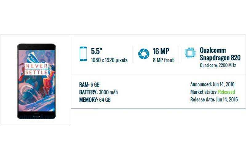 характеристики OnePlus 3