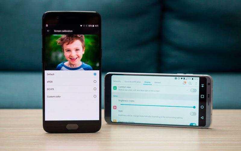 Сравнение экранов OnePlus 5 и LG G6
