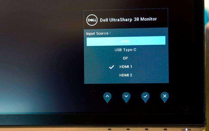Меню Dell UltraSharp U3818DW