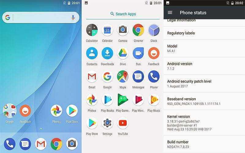 ОС в Xiaomi Mi A1