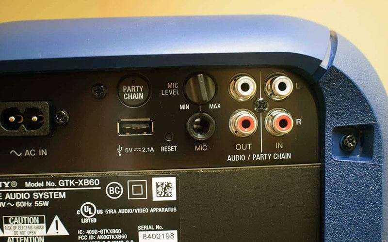 Подключение к Sony GTK-XB60 EXTRA BASS