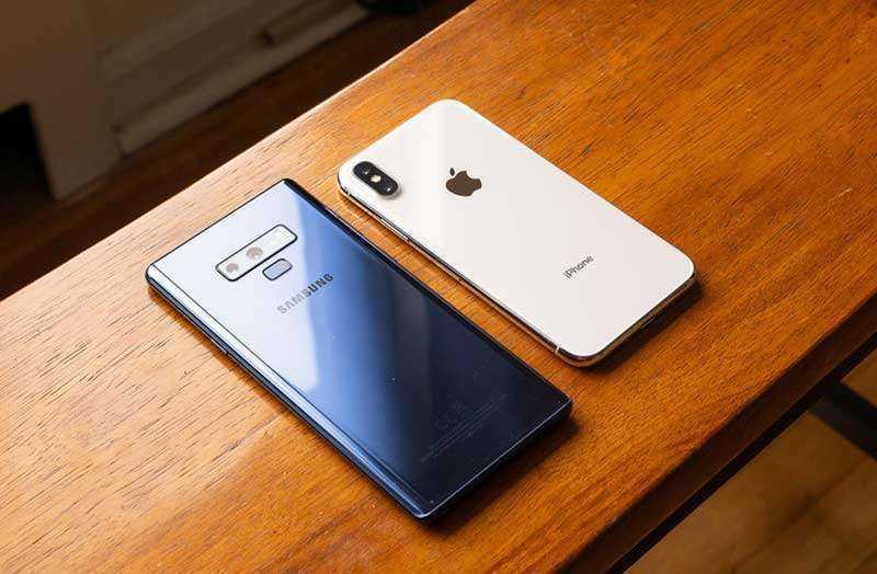 Samsung Galaxy Note 9 и Apple iPhone X внешний вид