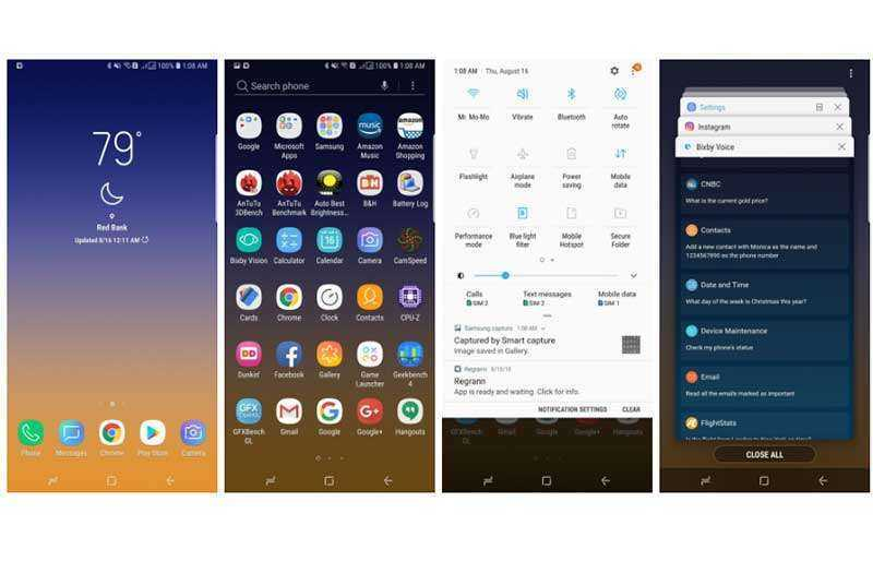 Интерфейс Samsung Galaxy Note 9