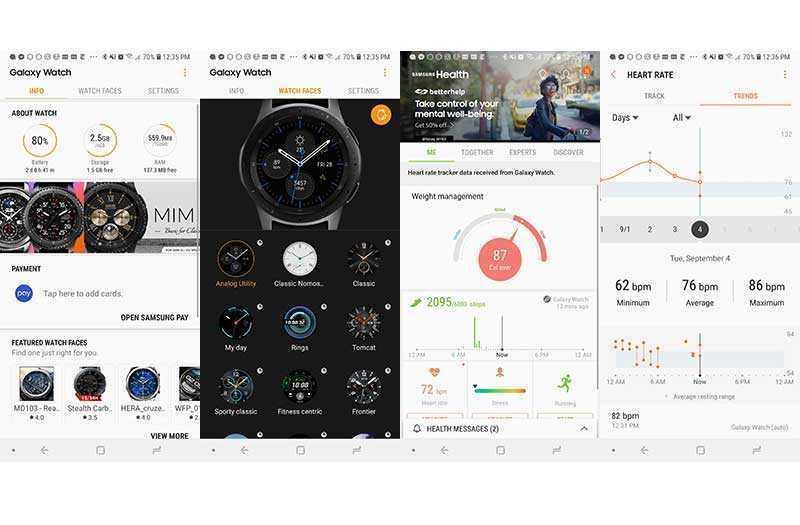 Интерфейс Samsung Galaxy Watch