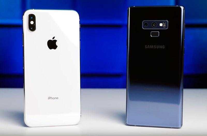 Дизайн Galaxy Note 9 и iPhone XS Max