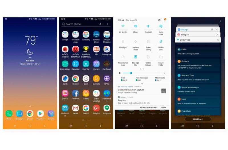 Интерфейс Galaxy Note 9