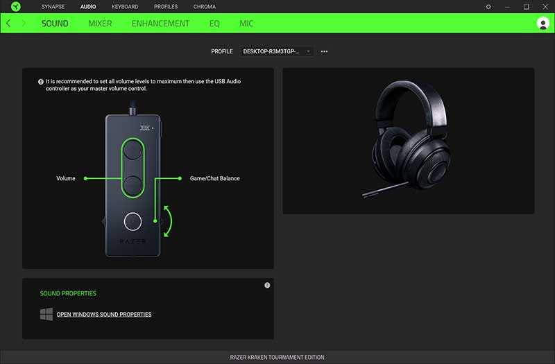 Razer Kraken Tournament Edition настройка