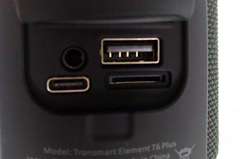 Tronsmart Element T6 Plus розъёмы и порты