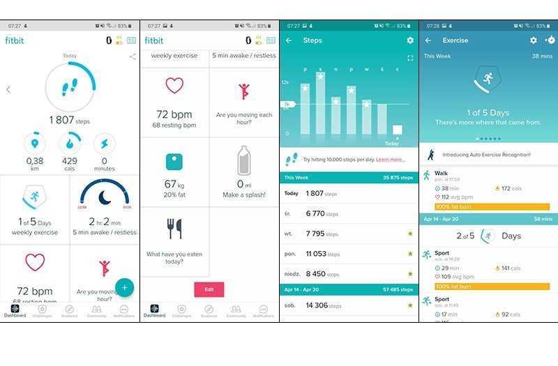Fitbit Inspire HR приложение