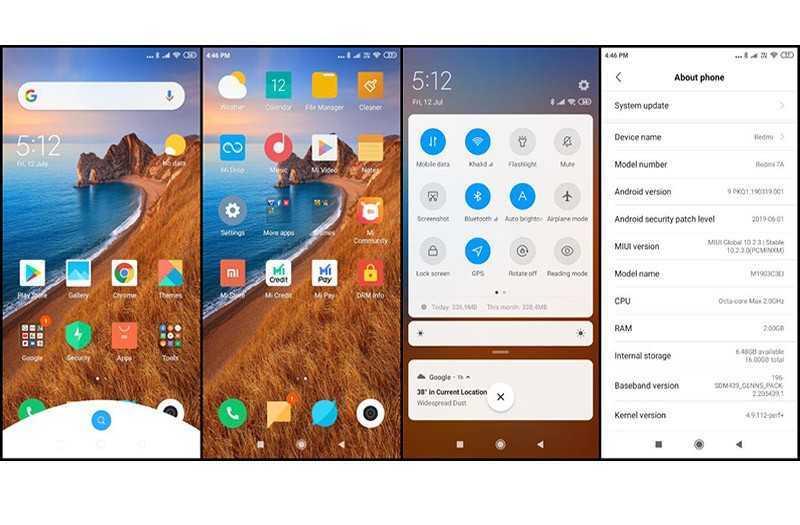 Xiaomi Redmi 7A интерфейс