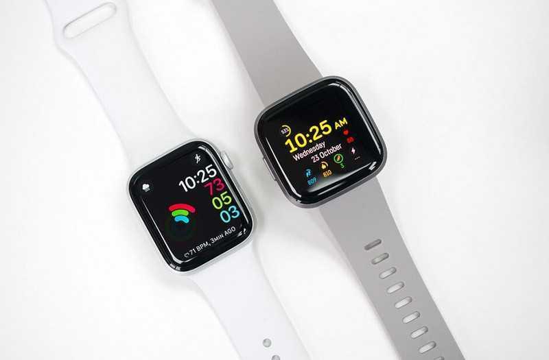 Apple Watch Series 5 vs Fitbit Versa 2 дизайн