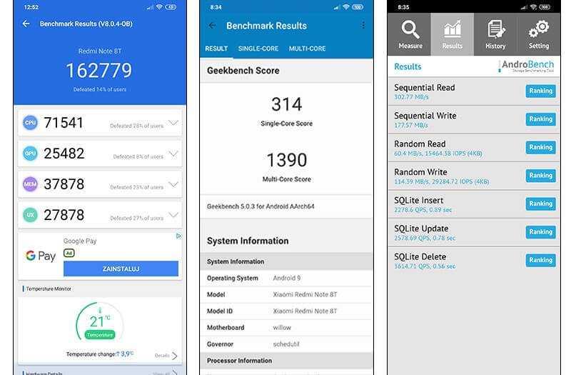 Xiaomi Redmi Note 8T тест