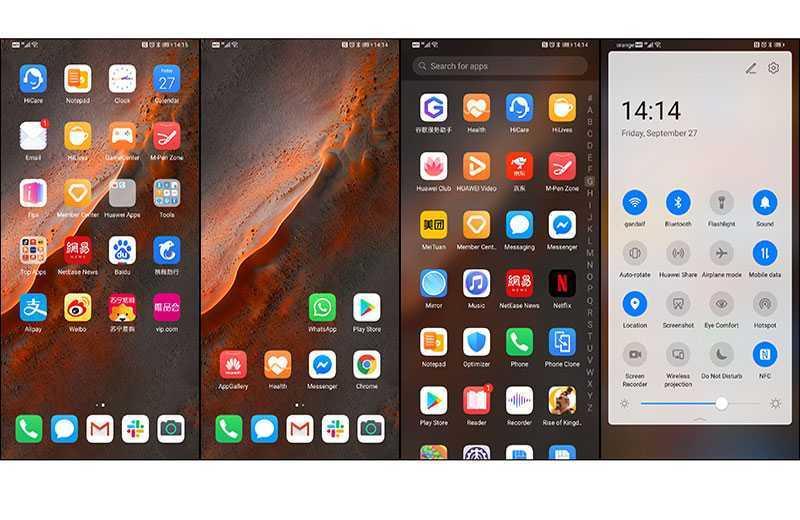 Huawei Mate 30 Pro интерфейс