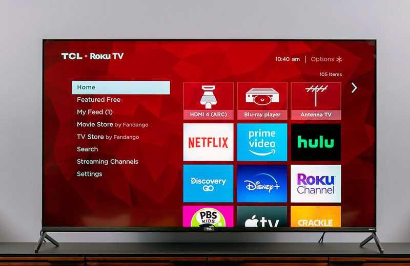 TCL 4K R625 HDR TV интерфейс