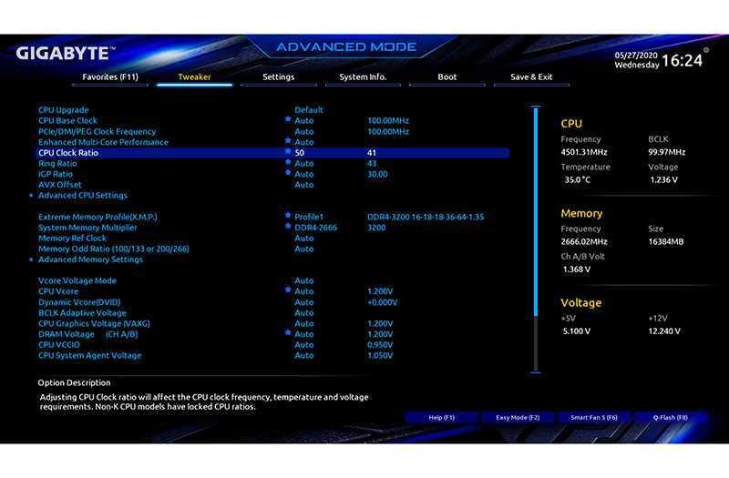 Разгон процессора Intel Core i5 с материнской платы UEFI