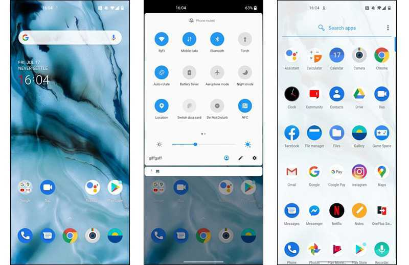 OnePlus Nord интерфейс