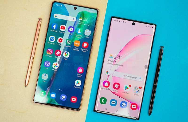 Samsung Galaxy Note 10 vs Samsung Galaxy Note 20 дизайн