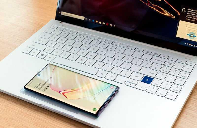 Samsung Galaxy Book Ion зарядка в тачпад