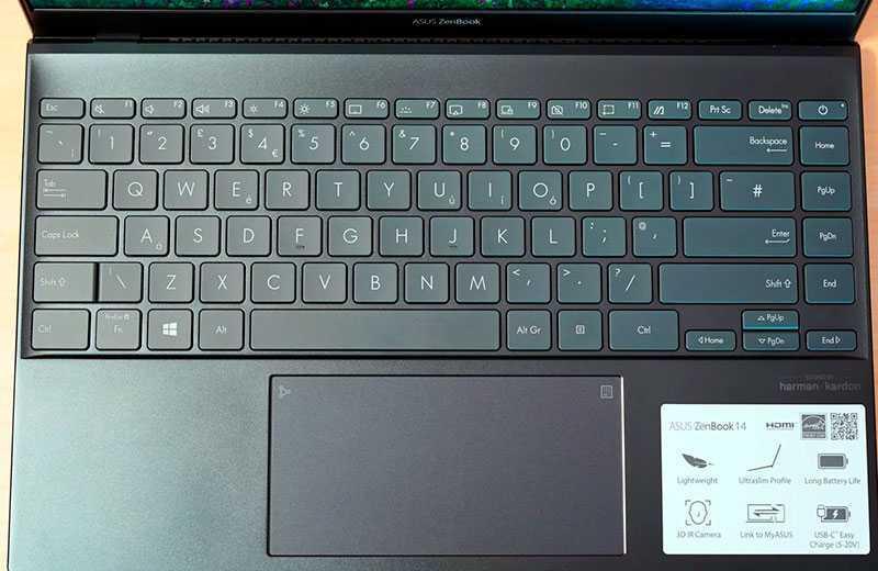ZenBook 14 UX425JA клавиатура
