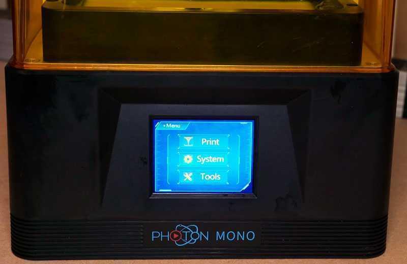 Anycubic Photon Mono меню
