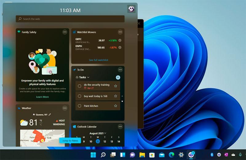 Панель виджетов Windows 11